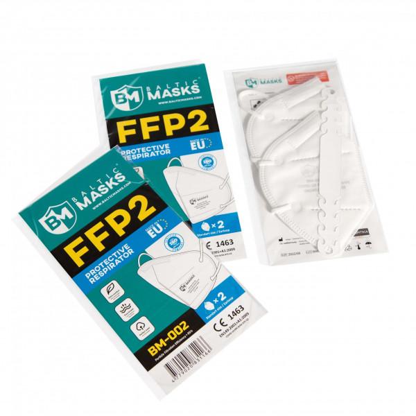 FFP2 Schutzmaske 2er Pack mit Kopfband für hohen Tragekomfort