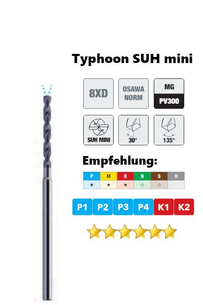 Osawa VHM-Tieflochbohrer 8xd Typhoon 358SUH mini