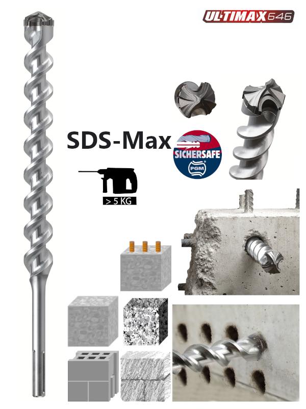 SDS-Max Hammerbohrer mit Vollhartmetallkopf Diager-Ultimax von 12mm bis 52mm bis 1500mm Länge
