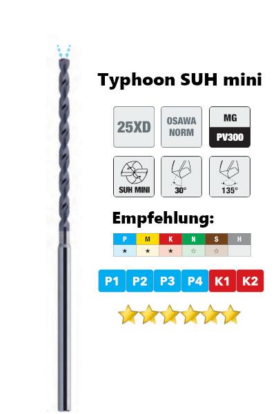 Osawa Hartmetall Tieflochbohrer 25xd Typhoon 3525SUH mini